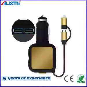 4.8A Dual USB Car Charger with 2 in 1 Cable