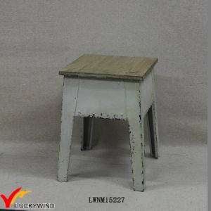 Retro Chic Antique Square Metal Stool with Wooden Top pictures & photos