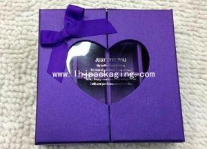 Purple Rigid Gift Box with Plastic Heart Shape Window