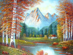 Handmade Oil Paintings of Lake River Moutain Red Maple Tree Scene (LH-346000) pictures & photos