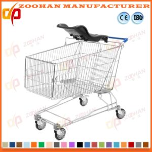 Metal Supermarket Shopping Trolley Cart Moulded Plastic Baby Seat (Zht184) pictures & photos