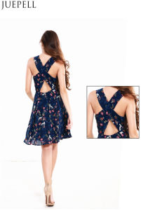 Summer Women Cross Halter Print Dress Sleeveless Middle Long Dresss Waist Put on a Large Bubble Skirt Dresses pictures & photos