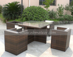 Mtc-018 PE Rattan Dining Set Chair and Table for Outdoor/Garden pictures & photos