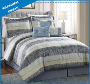 7 Piece Gray Light Yellow Jacquard Polyester Comforter Set pictures & photos