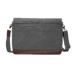 Waxed Canvas Leather Leisure Messenger Bag for Men pictures & photos