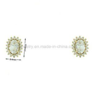 Fashion Brass Earrings Oval Stud with CZ for Gift (KE3086) pictures & photos