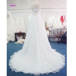 160622 Popular Style Sweetheart Neckline Pleats Bodice Strapless A Line Wedding Dress pictures & photos