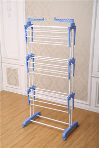 3 Layer Adjustable Powder Coated Cloth Drying Rack with Wheels Jp-Cr300W pictures & photos