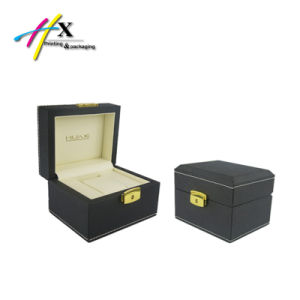 Leather Stitching Wooden Watch Display Packaging Box with Metal Lock pictures & photos