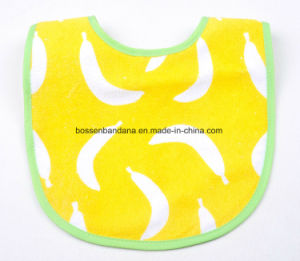 China Factory Produce Custom Logo Printed Cotton Terry Yellow Absorbent Baby Bib Aprons pictures & photos