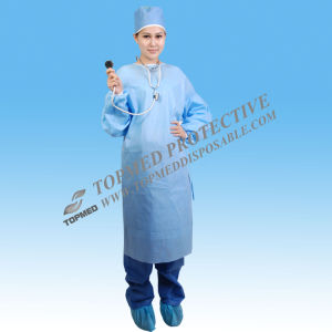 Disposable Surgical Gowns, Sterile Surgical Gowns with Knitted Cuff pictures & photos