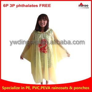 PEVA Disposable Poncho for European Market