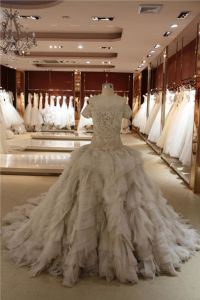 Ivory Organza Wedding Gowns Lace Ball Gown Wedding Dress H5590