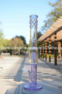Manufacturer Wholesale Purple Glass Water Pipe Smoking Pipe with Downstem and Glass Bowl pictures & photos