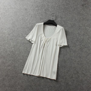 Fashion Style Modal Cotton Pleated Women T Shirt pictures & photos