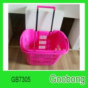 Portable Wheeled Plastic Shopping Supermarket Basket pictures & photos