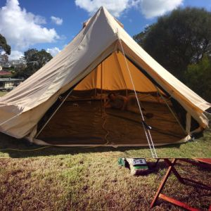 5m Glamping Luxury Cotton Canvas Bell Tent Beige Color Family Camping Bell Tent with Stove Hole pictures & photos