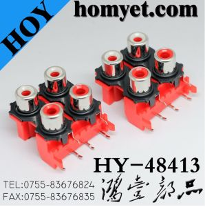 SMD Four Holes RCA Socket with Silvering in Red (HY-48413) pictures & photos