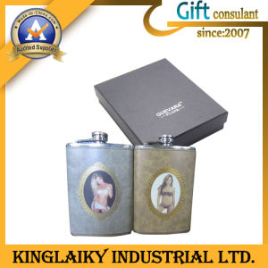 Personalized Simple Metal Flask for Promotional Gift (KF-005) pictures & photos