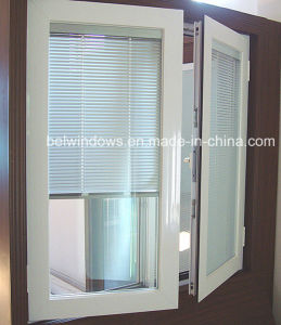 Windows with Blinds Built Inside Double Glass with Rolling up Louvers Aluminium Windows