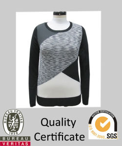 Women Color Blocking Knitted Intarsia Sweater
