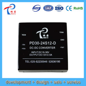 30W Pd30-24D12-D DC/DC Power Converter with 24V Input Voltage, 12V Output Voltage, Dual Output