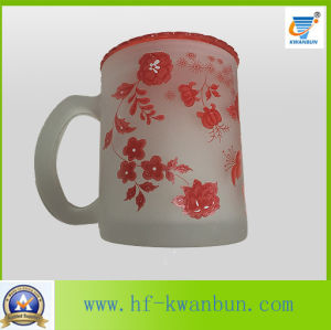 Frosted Glass with Decal Floral Beer Mug Glassware Kb-Hn0729 pictures & photos