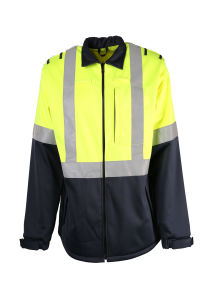 Hi-Vis Safety Mens 100%Polyester Soft Shell Outdoor Jacket with Reflective Tape pictures & photos