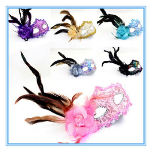 Halloween Ball Party Feather Flower Mask of Venice Princess Side Hair Mask pictures & photos