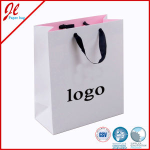 Custom Luxurious Shopping Paper Bags with Flat Twill Handle pictures & photos