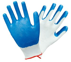 Blue Nitrile Coated Safety Working Gloves D006 pictures & photos