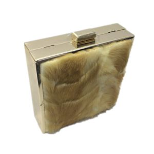 Gold clutch Fashion Ladies Handbag Eveningbag with Feather pictures & photos