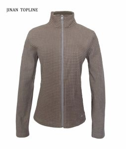Women Slim-Fitting Printed Micro Fleece Elastic Fabric Jacket with Long Sleeve pictures & photos