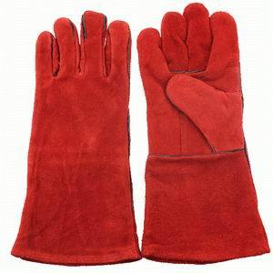 "14"" Red Color Leather Welding Gloves pictures & photos"