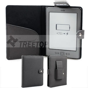 Folio Style Twill Pattern PU Leather Case for New Kindle 4 (KDPUFOGY58)