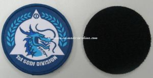 Custom Round Woven Patch/ Army Emblem on Polyester Fabric pictures & photos