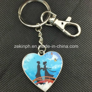 Custom Made Heart Shape Printing Metal Keychain pictures & photos