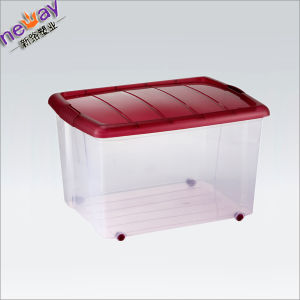 Neway Plastic Storage Box/Container with Wheels pictures & photos