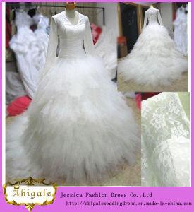 New Elegant Tulle Lace Ruffles Long Sleeve V-Neck Ball Gown Sweep Train Muslim Bridal Wedding Dress Yj0026