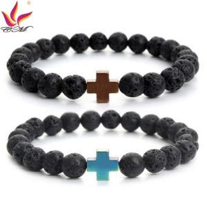 SMB011 Aliexpress Fashion Original Lava Stone Bracelet with Cross Hematite Decoration pictures & photos