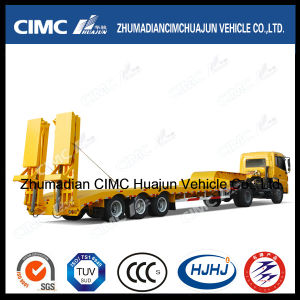 Cimc 3 Axle Lowbed Lowboy Semi Trailer with Spring Ramp Hydraulic Ramp Ladder pictures & photos