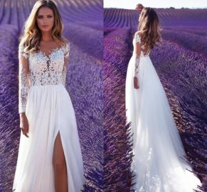 2018 Beach Wedding Dress Split Lace Chiffon Bridal Gowns Lb184 pictures & photos