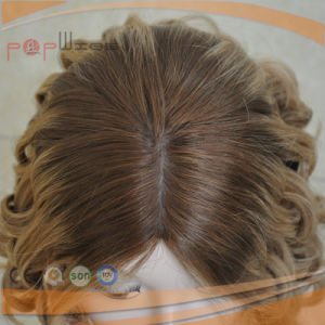 Blond Curly Medium Cap Human Hair Wig (PPG-y-00002) pictures & photos