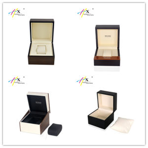 Highest Quality Square Black Watch Box with Metal Logo pictures & photos