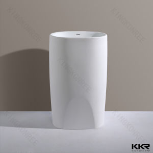 Italian Design White Freestanding Stone Pedestal Basin pictures & photos