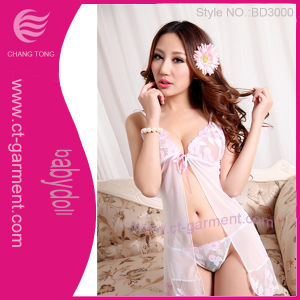 Sexy Front Open Underwear Women Babydoll/Transparent Female Sexy Lingerie (BD3000) pictures & photos