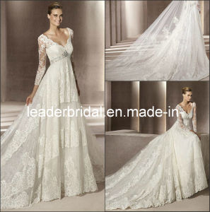 A-Line V-Neck Sheer Long Sleeves Bridal Wedding Gown E139122 pictures & photos