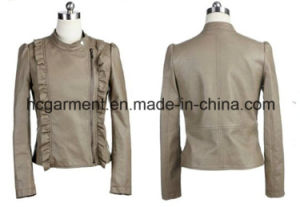 Outwear Punk PU Winter Jacket for Lady/Women, Leather Garment pictures & photos