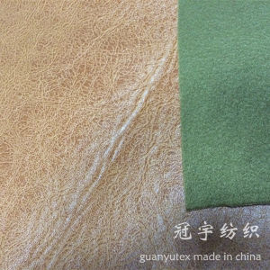 Brnzing Coated Suede Fabric Bonded with Knitted Backing pictures & photos