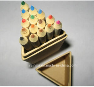 Kraft Paper Color Pencil with Wooden Ruler in Triangle Paper Tube pictures & photos